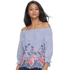 Elle Off the Shoulder Striped Floral Shirt XL